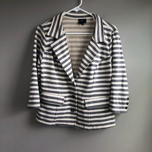 Market & Spruce Gray & White Striped Blazer Size L